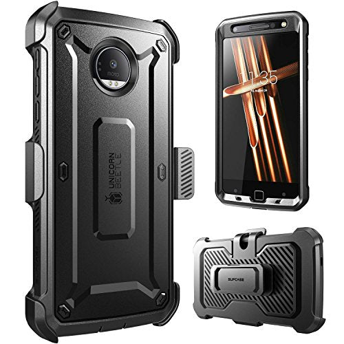 Moto Z Droid Case, Supcase Full-body Rugged Holster Case with Built-in Screen Protector (2016 Release, Not Fit Motorola Moto Z Force Droid, Moto Z Play), Unicorn Beetle PRO Series (Black /Black)