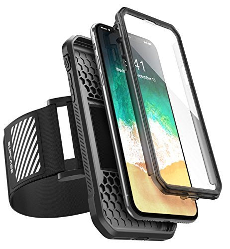 SUPCASE iPhone X Case, Can Use as Easy Fitting Sports Running Armband, Two Kinds of Usage with Built-in Screen Protector for Apple iPhone X / iPhone 10 2017 Release (Black)