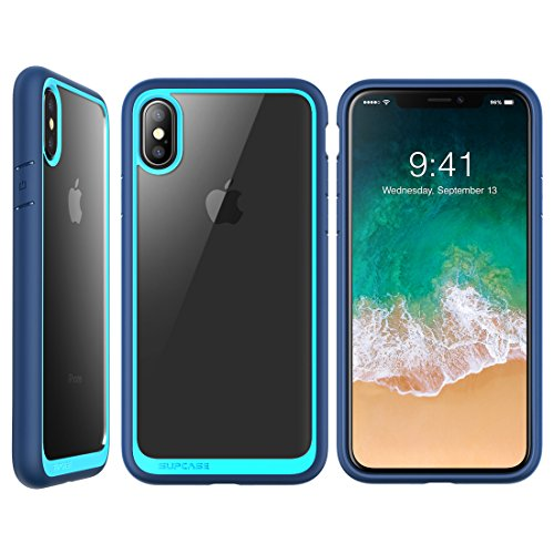 SUPCASE iPhone X Case, Unicorn Beetle Style Premium Hybrid Protective Clear Case for Apple iPhone X 2017 Release - Navy