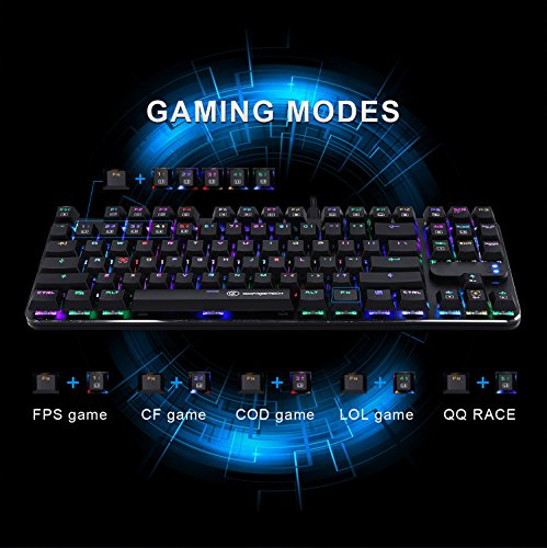 Gaming Keyboard 87 Keys Anti-ghosting RGB Mechanical Keyboard Multicolor Led Backlit Office Keyboard by GOFREETECH