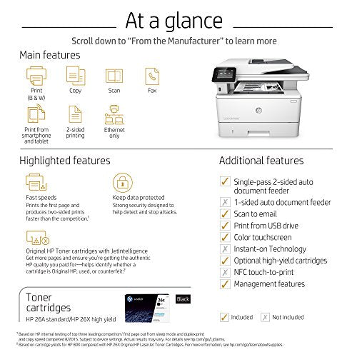 HP LaserJet Pro M426fdn Multifunction Laser Printer with Built-in Ethernet & Duplex Printing (F6W14A)