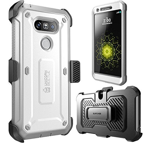 LG G5 Case, SUPCASE Full-body Rugged Holster Case with Built-in Screen Protector for LG G5 2016 Release, Unicorn Beetle PRO Series - Retail Package (White/Gray)