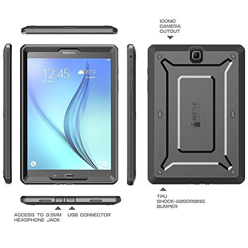 Galaxy Tab A 9.7 Case, SUPCASE Unicorn Beetle PRO Series Full-body Hybrid Protective Case with Screen Protector for Samsung Galaxy Tab A 9.7 [SM-T550] Dual Layer Design+Impact Resistant Bumper (Black/Black)