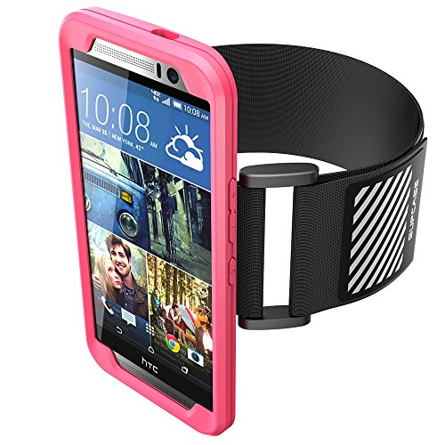 HTC One M9 Armband, SUPCASE Easy Fitting Sport Running Armband with Premium Flexible Case Combo for HTC One M9 Hima [2015 Rlease] (Pink)