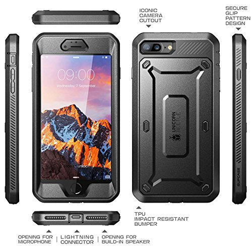 iPhone 7 Plus Case, iPhone 8 Plus Case, SUPCASE Unicorn Beetle PRO Series Full-body Rugged Holster Case with Built-in Screen Protector for Apple iPhone 7 Plus 2016 / iPhone 8 Plus 2017 (Black/Black)