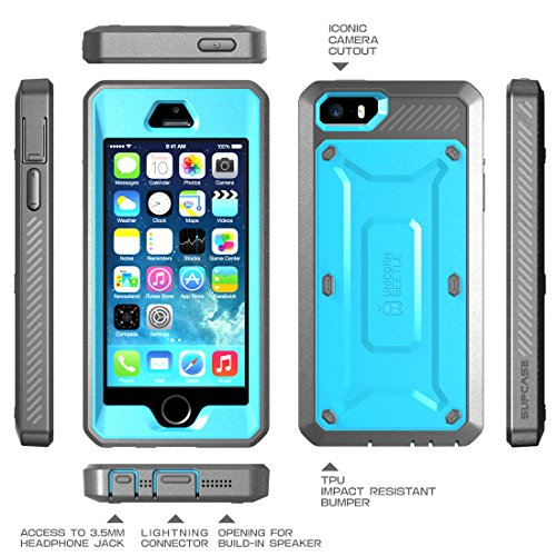 iPhone SE Case, SUPCASE Full-body Rugged Holster Case with Built-in Screen Protector for Apple iPhone SE (2016 Release/Compatible with iPhone 5S/5), Unicorn Beetle PRO Series (Blue/Black)