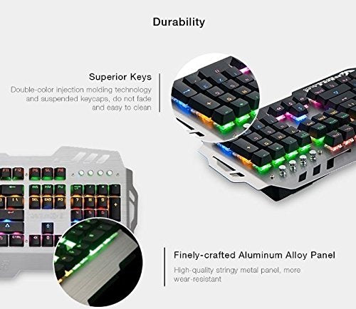 PK-900 Colorful Backlight Gaming Keyboard Mechanical Feeling 104 Keys Waterproof ABS Material Keyboard for PC Laptop (Silver)