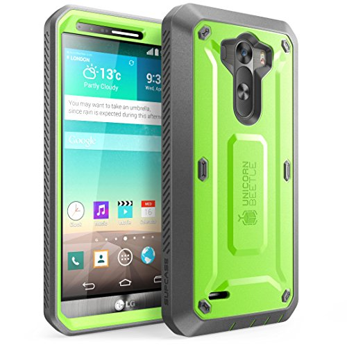 LG G3 Case, SUPCASE [Heavy Duty] LG G3 Case [Unicorn Beetle PRO Series] Full-body Rugged Hybrid Protective Case with Built-in Screen Protector (Green/Gray), Dual Layer Design + Impact Resistant Bumper