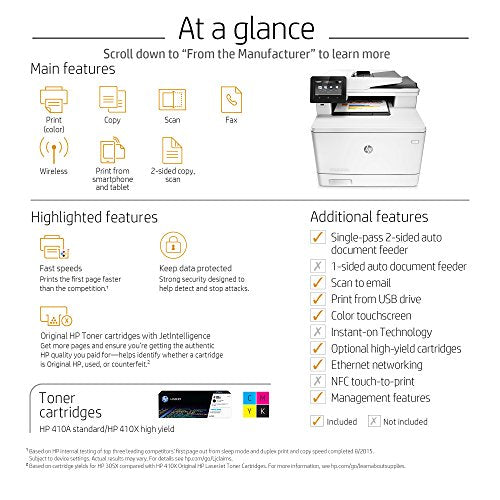HP LaserJet Pro M477fnw Multifunction Wireless Color Laser Printer with Built-in Ethernet (CF377A)