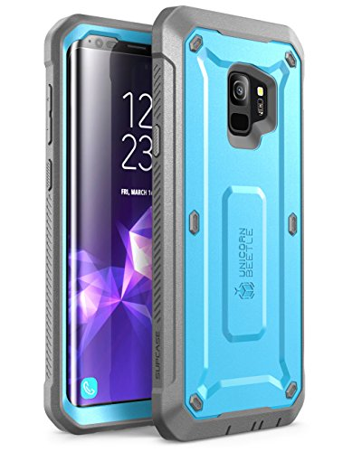 Samsung Galaxy S9 Case, SUPCASE Full-body Rugged Holster Case with Built-in Screen Protector for Galaxy S9 (2018 Release), Unicorn Beetle PRO Series - Retail Package (Blue)