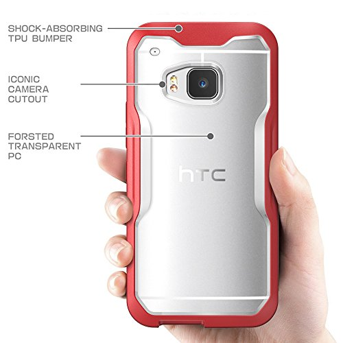 HTC One M9 Case, SUPCASE Unicorn Beetle Series Premium Hybrid Protective Clear Case for HTC One M9 , Retail Package (Frost Clear/Red)