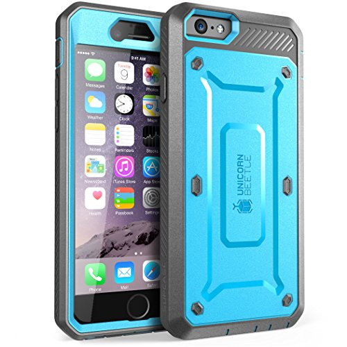 iPhone 6s Plus Case, SUPCASE Belt Clip Holster Apple iPhone 6 Plus Case 5.5 Inch display [Unicorn Beetle Pro] w/ Built-in Screen Protector (Blue/Gray)