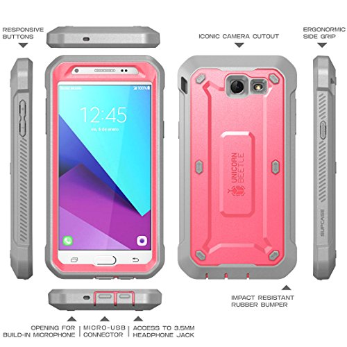 Samsung Galaxy J7 2017 Case, SUPCASE Unicorn Beetle Pro Series Full-body Rugged Holster Case with Built-in Screen Protector for Galaxy J7 2017/J7 V/J7 Sky Pro/J7 Perx/J7V 2017/J7 Prime (Pink/Gray)