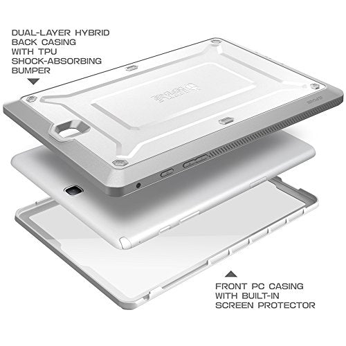 Galaxy Tab A 9.7 Case, SUPCASE Unicorn Beetle PRO Series Full-body Hybrid Protective Case with Screen Protector for Samsung Galaxy Tab A 9.7 [SM-T550] Dual Layer Design+Impact Resistant Bumper (White/Gray)