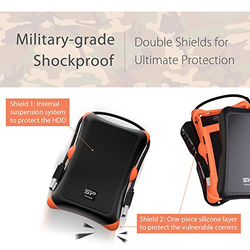 Silicon Power 1TB Type C External Hard Drive USB 3.0 Rugged Armor A30 Military-Grade Shockproof, Dual Cables Included (Type C to Type A & Type A to Type A), Black