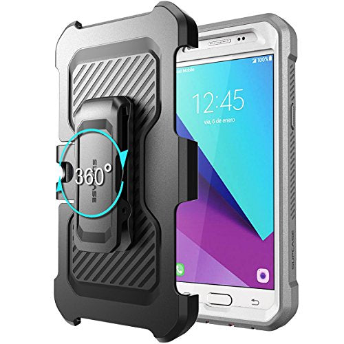 Samsung Galaxy J7 2017 Case, SUPCASE Unicorn Beetle Pro Series Full-body Rugged Holster Case with Built-in Screen Protector for Galaxy J7 2017/J7 V/J7 Sky Pro/J7 Perx/J7V 2017/J7 Prime (White/Gray)