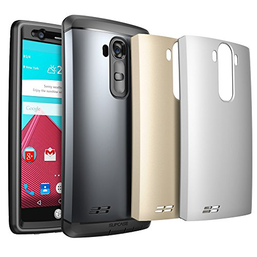 LG G4 Case, SUPCASE Water Resistant Full-body Rugged Case with Built-in Screen Protector for LG G4 2015 Release, 3 Interchangeable Covers, Retail Packaging (Space Gray/Silver/Gold)