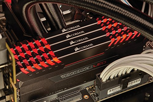 Corsair Vengeance LED 64GB (4 X 16GB) DDR4 2666 C16 for DDR4 Systems - Red LED PC Memory (CMU64GX4M4A2666C16R)