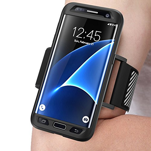 Galaxy S7 Edge Armband, SUPCASE Easy Fitting Sport Running Armband with Premium Flexible Case Combo for Samsung Galaxy S7 Edge 2016 Release (Black)