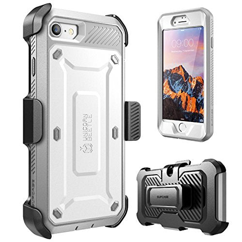 iPhone 7 Case, iPhone 8 Case, SUPCASE Unicorn Beetle PRO Series Full-body Rugged Holster Case with Built-in Screen Protector for Apple iPhone 7 2016 / iPhone 8 2017 (White/Gray)