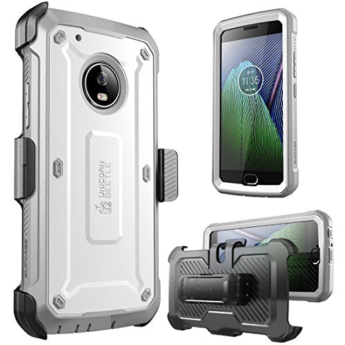 Moto G5 Plus Case, SUPCASE Full-body Rugged Holster Case with Built-in Screen Protector for Motorola Moto G5 Plus 2017 Release, Unicorn Beetle PRO Series - Retail Package (White/Gray)