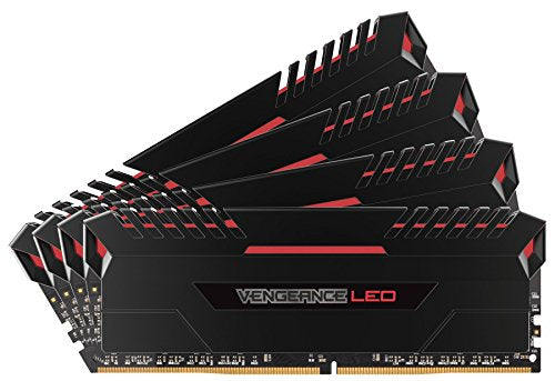 Corsair Vengeance LED 32GB (4x8GB) DDR4 3200 (PC4-25600) C16 for DDR4 Systems - Red LED PC Memory (CMU32GX4M4C3200C16R)