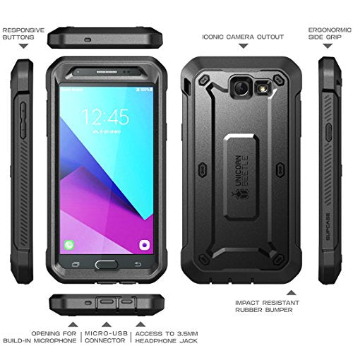 Samsung Galaxy J7 2017 Case, SUPCASE Unicorn Beetle Pro Series Full-body Rugged Holster Case with Built-in Screen Protector for Galaxy J7 2017/J7 V/J7 Sky Pro/J7 Perx/J7V 2017/J7 Prime (Black/Black)