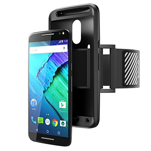 Moto X Pure Edition Armband, SUPCASE Easy Fitting Sport Running Armband Case for Motorola Moto X Style / Pure Edition (2015 Release) with Premium Flexible Case Combo (Black)