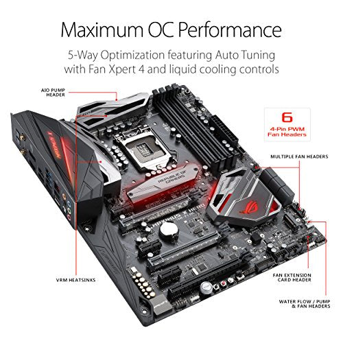 ASUS ROG Maximus X Hero (Wi-Fi AC) LGA1151 DDR4 DP HDMI M.2 Z370 ATX Motherboard with onboard 802.11ac WiFi, Gigabit LAN and USB 3.1 for 8th Generation Intel Core Processors