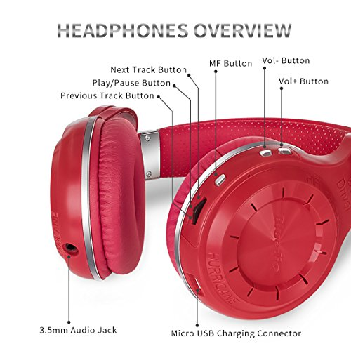 Bluedio T2s Bluetooth Headphones On Ear with Mic, 57mm Driver Rotary Folding Wireless Headset, Wired and Wireless headphones for Cell Phone/ TV/ PC, 40 Hours Play Time (Red)