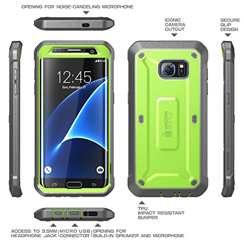 Galaxy S7 Edge Case, SUPCASE Full-body Rugged Holster Case WITHOUT Built-in Screen Protector for Samsung Galaxy S7 Edge (2016 Release), Unicorn Beetle PRO Series - Retail Package (Green/Gray)