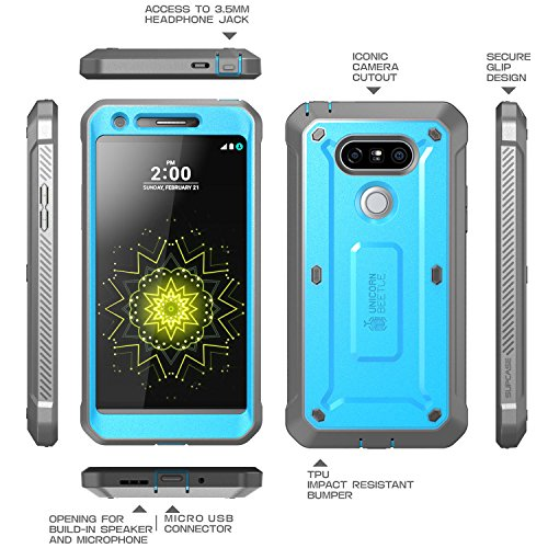 LG G5 Case, SUPCASE Full-body Rugged Holster Case with Built-in Screen Protector for LG G5 2016 Release, Unicorn Beetle PRO Series - Retail Package (Blue/Black)