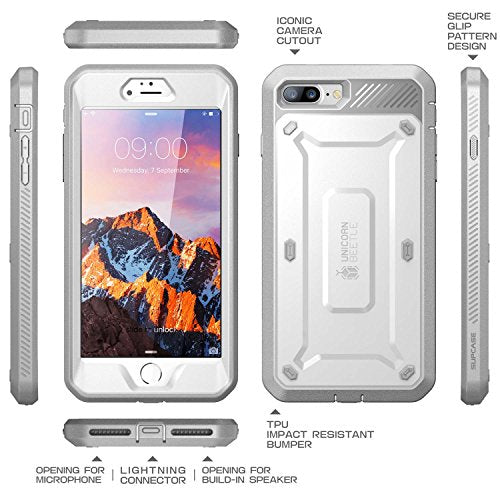 SUPCASE iPhone 7 Plus Case, iPhone 8 Plus Case, Unicorn Beetle PRO Series Full-body Rugged Holster Case with Built-in Screen Protector for Apple iPhone 7 Plus 2016 / iPhone 8 Plus 2017 (White/Gray)
