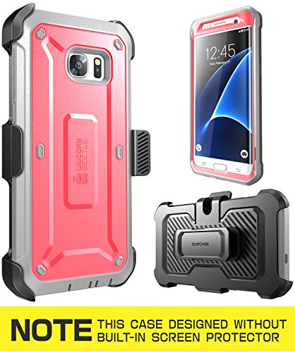 Galaxy S7 Edge Case, SUPCASE Full-body Rugged Holster Case WITHOUT Built-in Screen Protector for Samsung Galaxy S7 Edge (2016 Release), Unicorn Beetle PRO Series - Retail Package (Pink/Gray)