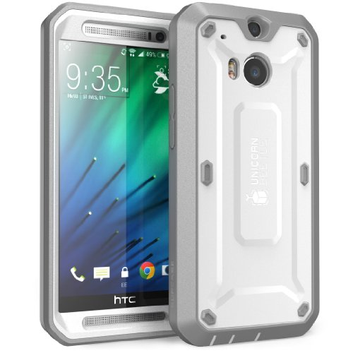 HTC One M8 Case, SUPCASE [Heavy Duty] HTC One M8 Case 2014 Release [Unicorn Beetle PRO Series] Full-body Rugged Hybrid Protective Case with Built-in Screen Protector (White/Gray), Dual Layer Design + Impact Resistant Bumper