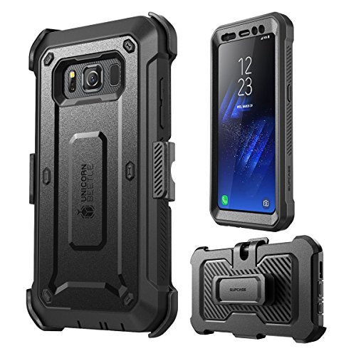 Galaxy S8 Active Case, SUPCASE Full-body Rugged Holster Case with Built-in Screen Protector for Samsung Galaxy S8 Active, Unicorn Beetle PRO Series - Retail Package (Not Fit Galaxy S8/S8 Plus) (Black)