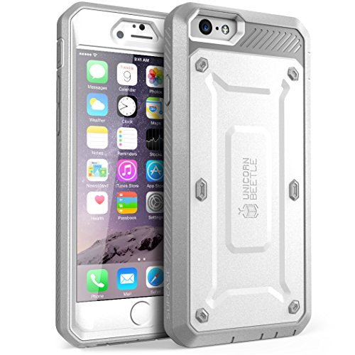 iPhone 6S Case, SUPCASE Apple IPhone 6 Case / 6S 4.7 Inch display [Unicorn Beetle Pro] Rugged Holster Cover with Builtin Screen Protector (White/Gray)