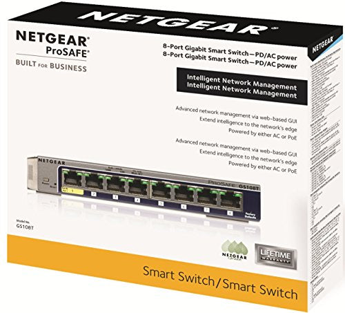 NETGEAR GS108Tv2 8-Port Gigabit Smart Managed Pro Switch | ProSAFE Lifetime Protection