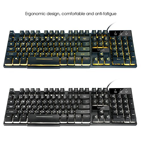 Mafiti RK100 3 Color LED Backlit USB Wired Multimedia Keyboard for Gaming,Office