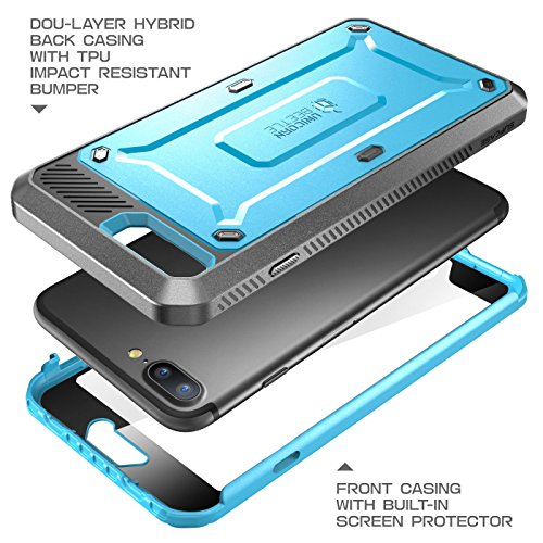 iPhone 7 Plus Case, iPhone 8 Plus Case, SUPCASE Unicorn Beetle PRO Series Full-body Rugged Holster Case with Built-in Screen Protector for Apple iPhone 7 Plus 2016 / iPhone 8 Plus 2017 (Blue/Black)