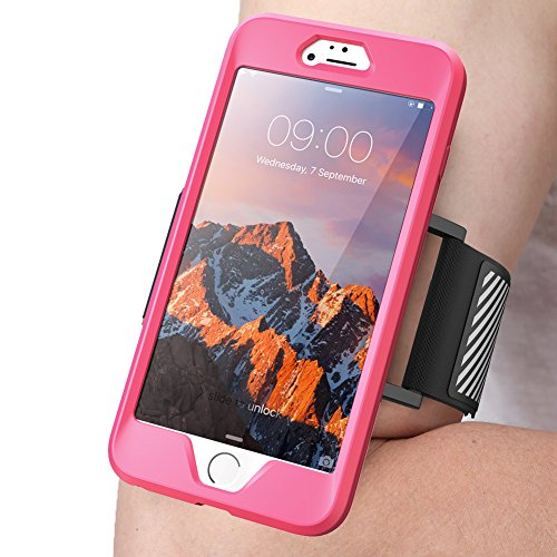 iPhone 8 Plus Armband, SUPCASE Easy Fitting Sport Running Armband Case with Premium Flexible Case Combo for Apple iPhone 8 Plus 2017 Release (Compatible with iPhone 7 Plus) (Pink)