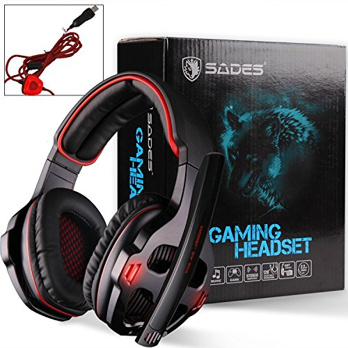 SADES SA903 7.1 Surround Sound USB PC Stereo Gaming Headset with Microphone Volume-Control LED light (Black)