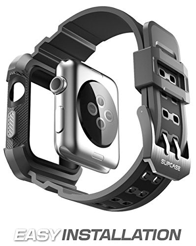 Apple Watch 3 Case 38mm, SUPCASE [Unicorn Beetle Pro] Rugged Protective Case with Strap Bands for Apple Watch Series 3 2017 Edition [38mm, Compatible with Apple Watch 38mm 2015 2016 ] (Black)