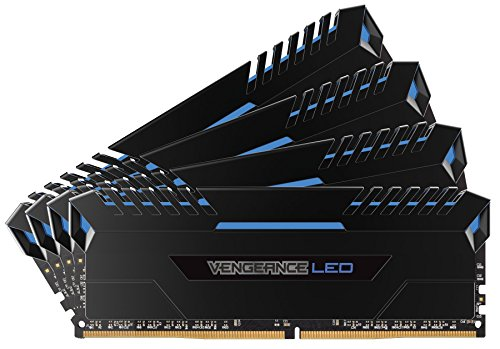 Corsair Vengeance LED 64GB (4 X 16GB) DDR4 3200 C16 for Intel 100 - Blue LED PC Memory (CMU64GX4M4C3200C16B)