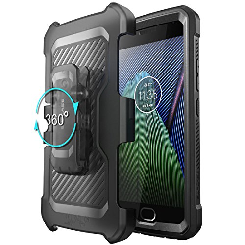 Moto G5 Plus Case, SUPCASE Full-body Rugged Holster Case with Built-in Screen Protector for Motorola Moto G5 Plus 2017 Release, Unicorn Beetle PRO Series - Retail Package (Black/Black)
