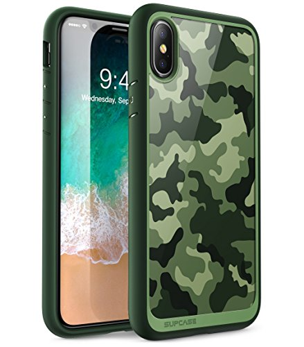 SUPCASE iPhone X Case, Unicorn Beetle Style Premium Hybrid Protective Clear Case for Apple iPhone X 2017 Release (Camo/Green)