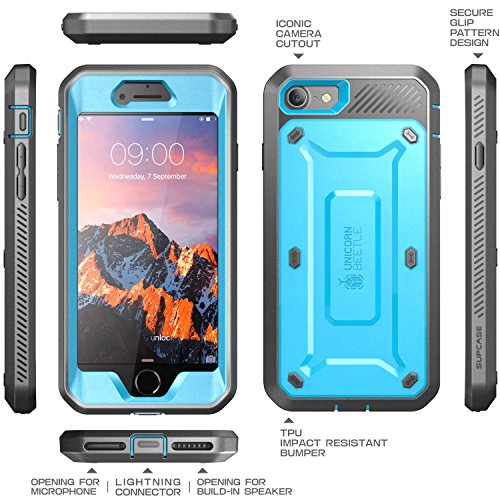 iPhone 8 Case, SUPCASE Full-body Rugged Holster Case with Built-in Screen Protector for Apple iPhone 7 2016 / iPhone 8 (2017 Release), Unicorn Beetle PRO Series - Retail Package (Blue)