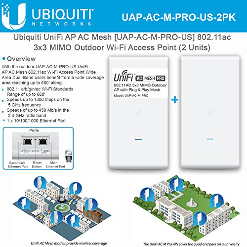 Ubiquiti UniFi AP AC Mesh UAP-AC-M-PRO-US 802.11ac 3x3 MIMO Outdoor Wi-Fi Access Point