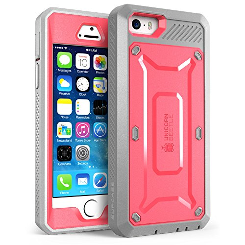 iPhone SE Case, SUPCASE Full-body Rugged Holster Case with Built-in Screen Protector for Apple iPhone SE (2016 Release/Compatible with iPhone 5S/5), Unicorn Beetle PRO Series (Pink/Gray)