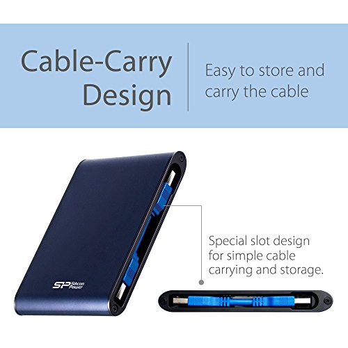 Silicon Power 2TB Rugged Armor A80 IPX7 Shockproof, Waterproof USB 3.0 2.5 Inch Military Grade External Portable Hard Drive for PC, Mac, Xbox One, Xbox 360, PS4, PS4 Pro and PS4 Slim - Blue